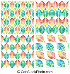 Seamless patterns with colorful leaves Vector, EPS10 -...