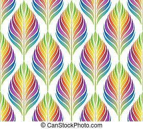 Seamless pattern with colorful leaves Vector, EPS 10 -...