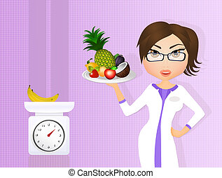 dietitian girl with fresh fruit - illustration of dietitian...