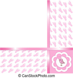 Baby girl arrival card - Cute Baby girl arrival card