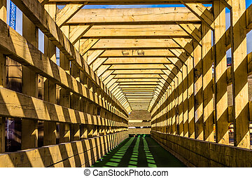 Interior of an old covered bridge in mountains