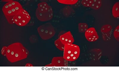 Flying dice in red color