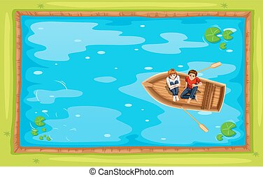 Top view of people rowing a boat in the pond