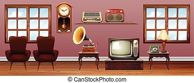 Living room with vintage furnitures illustration
