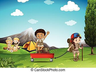 Children camping and playing in the field illustration