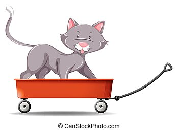 Gray cat standing on red wagon