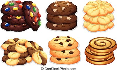 Different flavour of cookies illustration