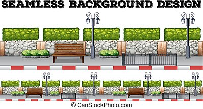 Seamless background with bench and wall illustration