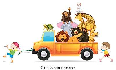 Wild animals on the pick up truck illustration
