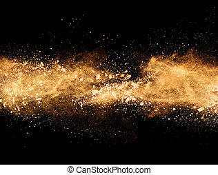 Explosion of orange powder on black background - Explosion...