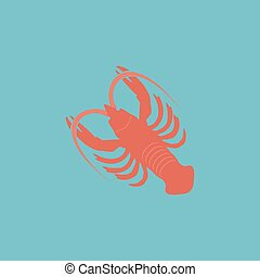 crawfish flat icon - Crawfish. Colorful vector icon. Simple...