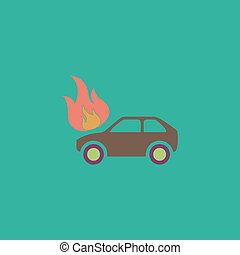 Car fire icon - Car fire Colorful vector icon Simple retro...