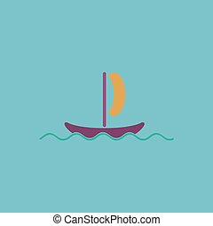 yachts flat icon - Simple yachts Colorful vector icon Simple...