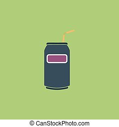 Soda Cans with tube icon - Soda Cans with tube. Colorful...