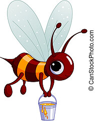 Bee holding a honey bucket - The bee flies with a bucket...