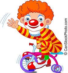 payaso, tres-rodado, bicicleta