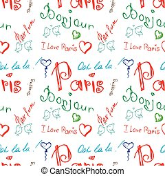 Colored word about Paris seamless pattern on white. Seamless...