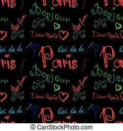 Colored word about Paris seamless pattern on black ....