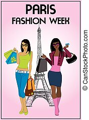 Two shopping girls in paris, vector illustration. - Two...