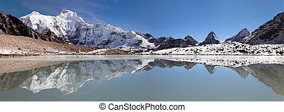 Panoramic view from gokyo valley near mount Cho Oyu base...