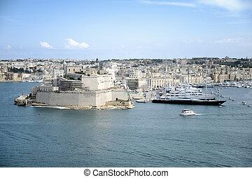 puerto, vista,  Valletta, magnífico