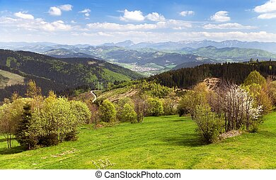 Springtime view from Javorniky to Mala Fatra mountains,...