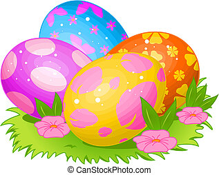 Beautiful coloring Easter eggs on the meadow