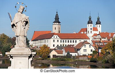 Telc or Teltsch town with statue of st John of Nepomuk -...
