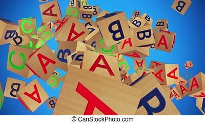 Toy cubes with letters A,B,C on blue