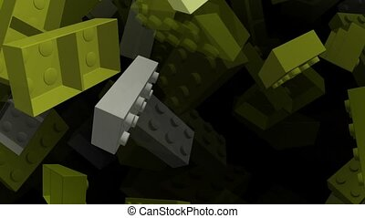 Flying toy bricks in yellow color on black