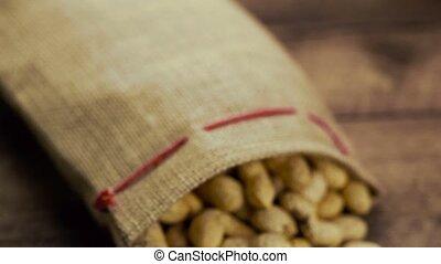 Shelled peanuts on table