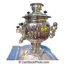 Russian samovar for tea drinking with tablenapkin isolated
