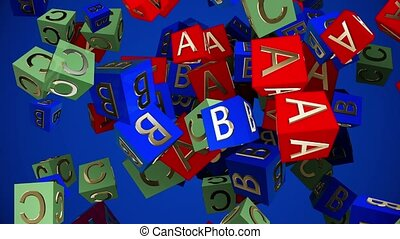 Flying toy cubes with letters A,B,C