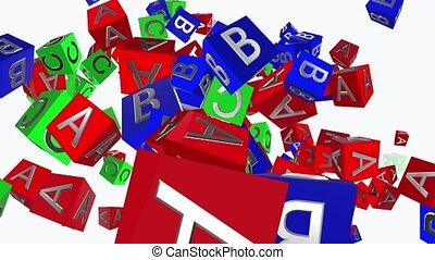 Toy cubes with letters A,B,C on white