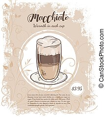 vector hand drawn illustration of drinks menu pages with cup...