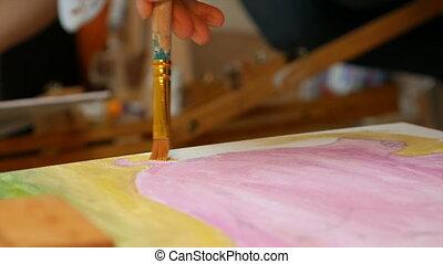 Artist paints picture artwork canvas in art studio