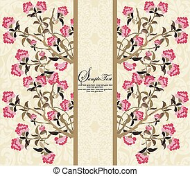 Vintage card with floral design, pink flowers