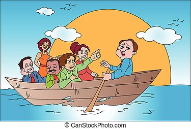 Vector of business team on boat.
