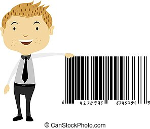 Man Beside a Giant Barcode Symbol, illustration - Man Beside...