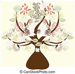 Abstract tree with flowers, symbol of nature