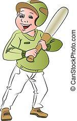 Vector of baseball batsman. - Vector illustration of happy...