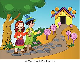 Hansel and Gretel, illustration - Hansel and Gretel Finding...
