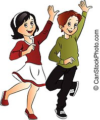 Vector of couple dancing. - Vector illustration of young...