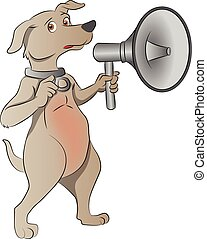 Dog with Megaphone, illustration - Dog with Megaphone,...