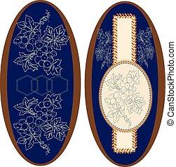 Set of two (2) vintage ellipse frames with ornate elegant retro abstract floral design
