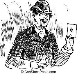 The three card trickster engraving illustration