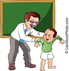 Vector of school teacher scolding small boy. - Vector...