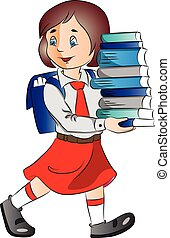 Vector of a schoolgirl carrying stack of books.