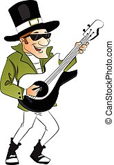 Vector of stylish man playing guitar. - Vector illustration...