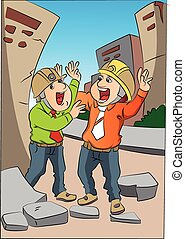 Vector of two scared engineers screaming at site.